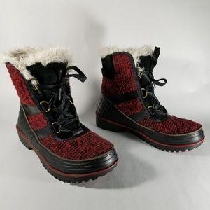 Sorel Tivoli II Red Knit Lined Winter Duck Boots